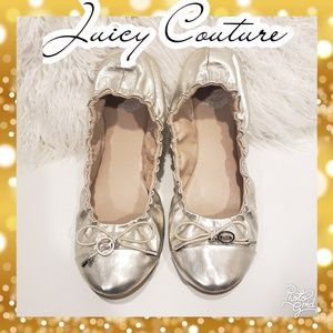 Juicy Couture flats gold metallic slip ons 7.5